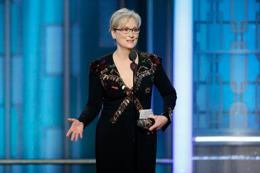 Actress Meryl Streep earned a lifetime achievement award at the Golden Globes Sunday and in accepting, turned the spotlight away from herself. (Photo: Paul Drinkwater/AP)