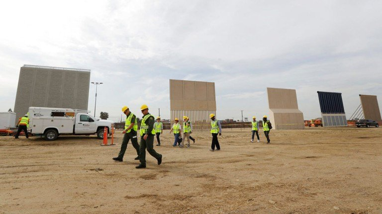 Companies are nearing an Oct. 26 deadline to finish building eight prototypes of President Donald Trump's proposed border wall with Mexico. (AP Photo/Gregory Bull)