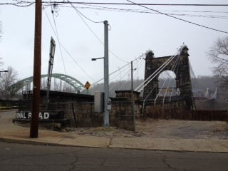 Wheeling police have shut down both sides of the bridge. This is a view from Wheeling Island