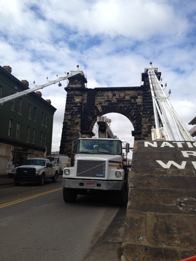The Wheeling Suspension Bridge is closed to traffic.