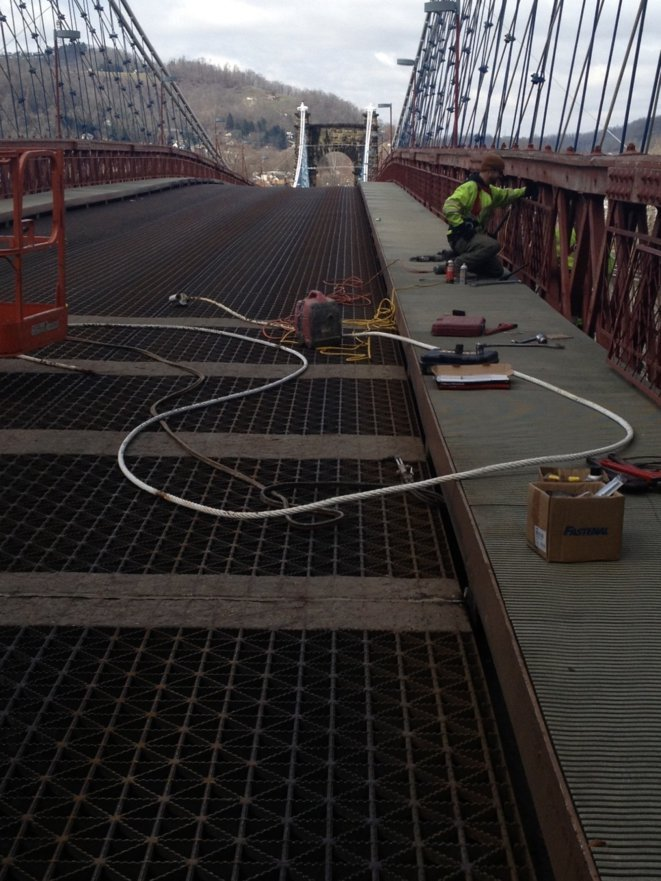 The Wheeling Suspension Bridge is closed to traffic as repairs are being made.