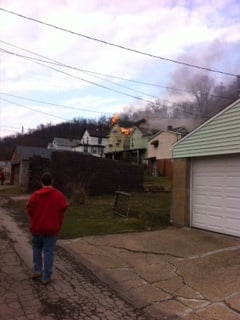Residents in the area can see flames shooting out from the structure