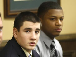 Trent Mays, left, and Ma'lik Richmond are shown during the start of their trial on rape charges in juvenile court on March 13, 2013.