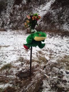 This roadside memorial was erected near the accident site.