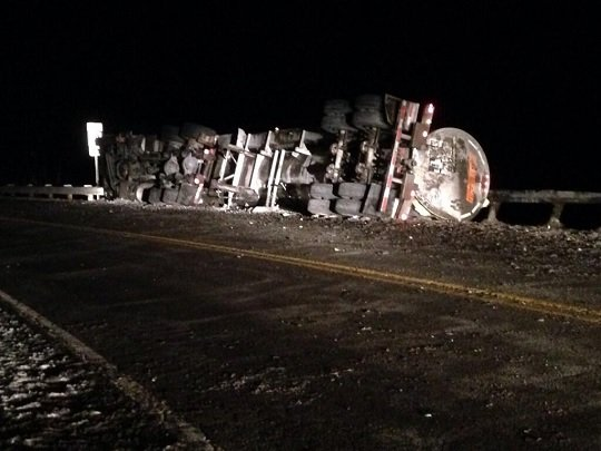 According to the Sistersville Police Chief Benjamin Placer, the truck was traveling southbound on Rt. 2 when the driver hit a pot hole and lost control of the vehicle. The truck then overturned, spilling sodium hydroxide.