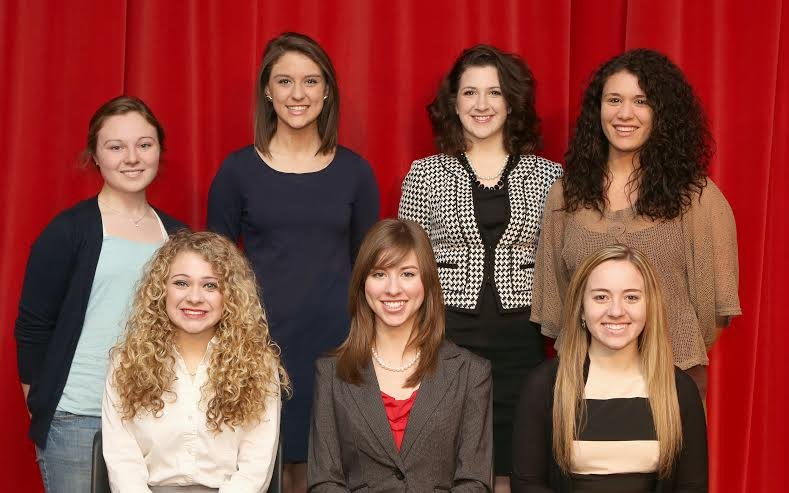 The contestants are, seated in front from left: Abigail Reeves, Beverly Banks and Samantha Scarnechia. Standing from left are:  Lydia Holmstrand, Anna Penhos, Carly DiCola, Carly Greer. Caitlin Reasbeck and Devyn Nickerson are not pictured.