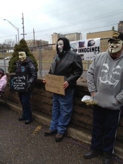 Protestors outside the Steubenville rape trial.