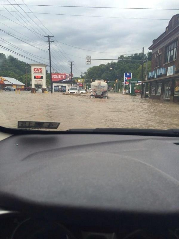 National Road in Wheeling was shut down due to flooding Wednesday morning.